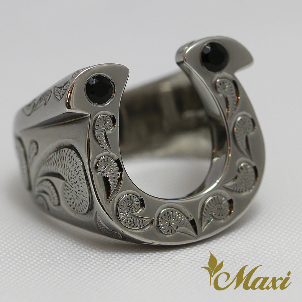 [Black Chrome Silver 925] Horseshoe Ring  [Made to Order] (R0146)