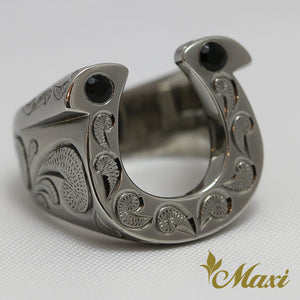 Black Chrome Silver 925 -Hand Engraved Traditional Hawaiian Design (R0146)