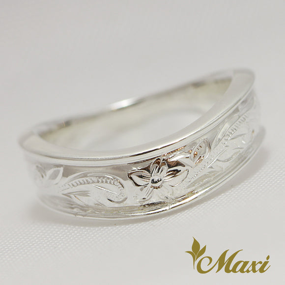 Silver 925 Wave Ring Large-Hand Engraved Traditional Hawaiian Design (R0148)