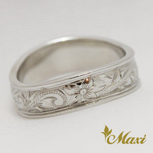 14K White Gold Wave Ring Large-Hand Engraved Traditional Hawaiian Design (R0148)
