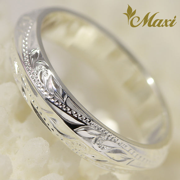 [Silver 925] Angle Ring Small-Hand Engraved Traditional Hawaiian Design (R0151)