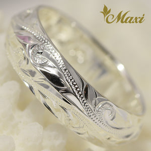 [Silver 925] Angle Ring Large-Hand Engraved Traditional Hawaiian Design (R0152)