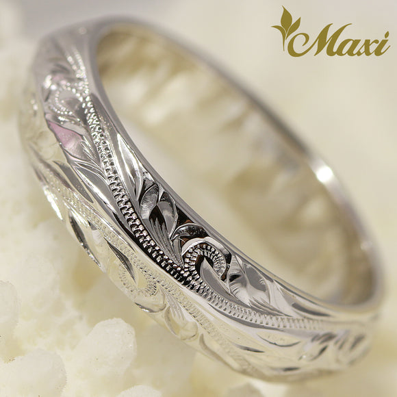 [14K White Gold] Angle Ring Large-Hand Engraved Traditional Hawaiian Design (R0152)
