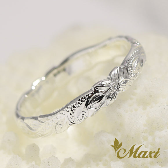 [Silver 925] -Hand Engraved Traditional Hawaiian Design Ring(R0176)