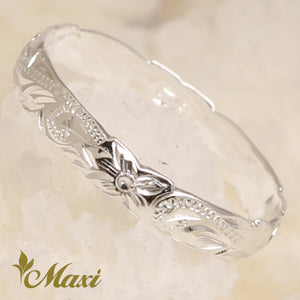 [Silver 925] 2.5mm Cutout Pinky Ring-Hand Engraved Traditional Hawaiian Design (R0305)