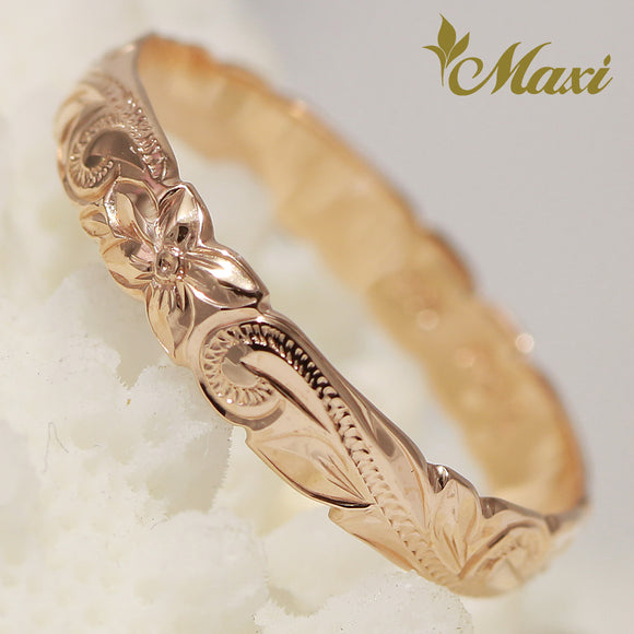 [14K Pink(Rose) Gold] Cutout edge Pinky Ring-Hand Engraved Traditional Hawaiian Design (R0305)