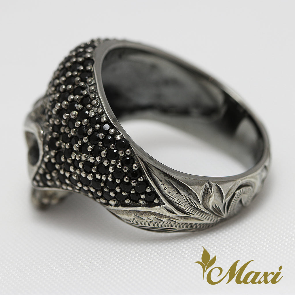 [Black Chrome Silver 925] Stone Skull Ring [Made to Order] (R0332)