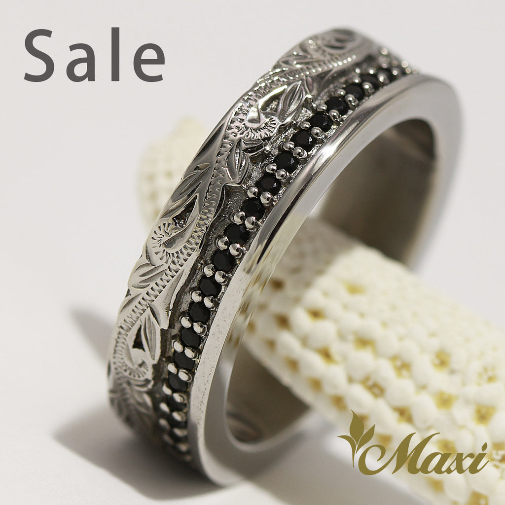 [Black Chrome Silver 925] Black Onyx stone setting ring (R0345) SALE
