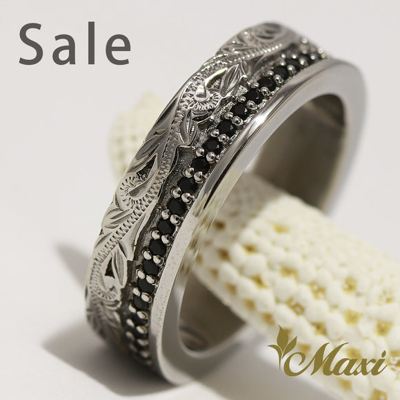 [Black Chrome Silver 925] Black Onyx stone setting ring-Hand Engraved Traditional Hawaiian Design (R0345) SALE