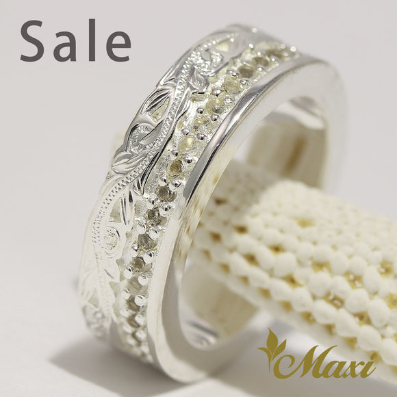 [Silver 925] Crystal stone eternity setting ring-Hand Engraved Traditional Hawaiian Design (R0345) SALE