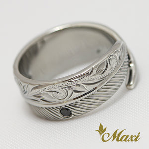 [Black Chrome Silver 925] Feather Ring Onyx [Made to Order] (R0367)