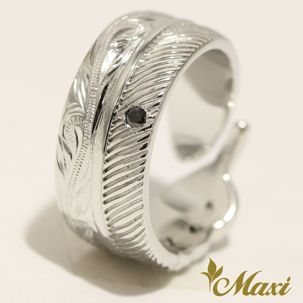 [14K White Gold] Feather Ring Black Diamond (R0367) Made to Order