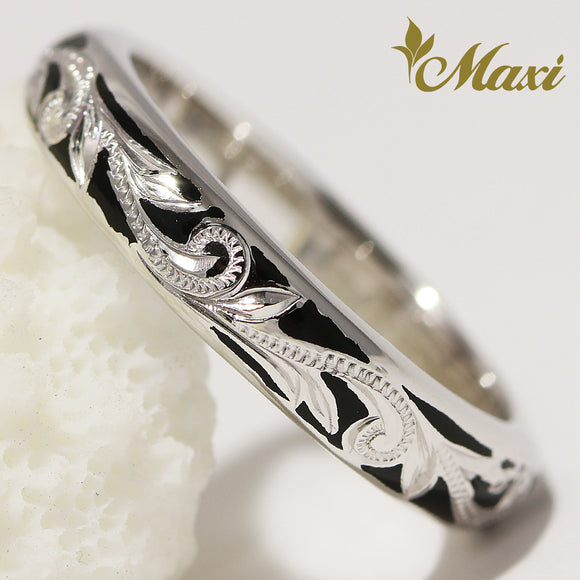 [14K White Gold] Black Enamel Ringl-Hand Engraved Traditional Hawaiian Design**Take 1 month** (R0438)