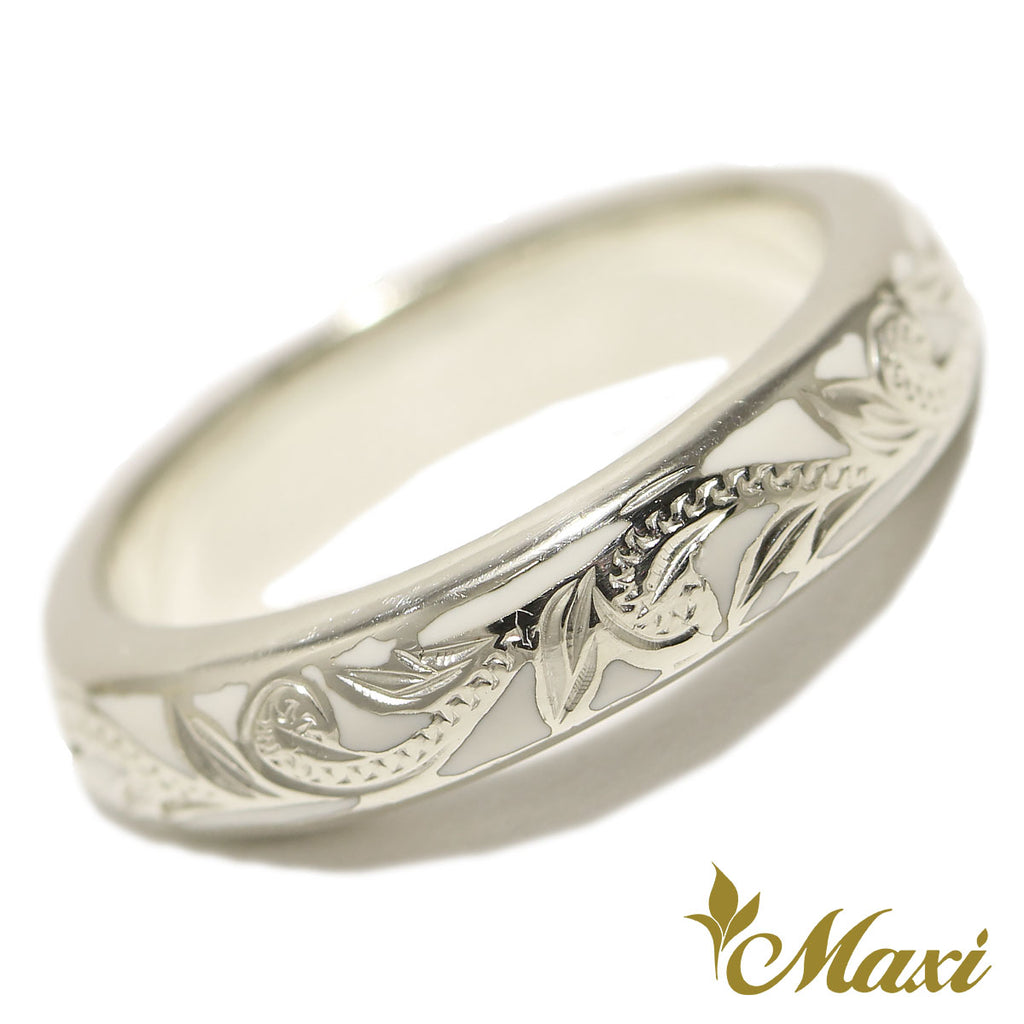 [Silver 925] White Enamel 4mm Ring *Made to order*(R0438)