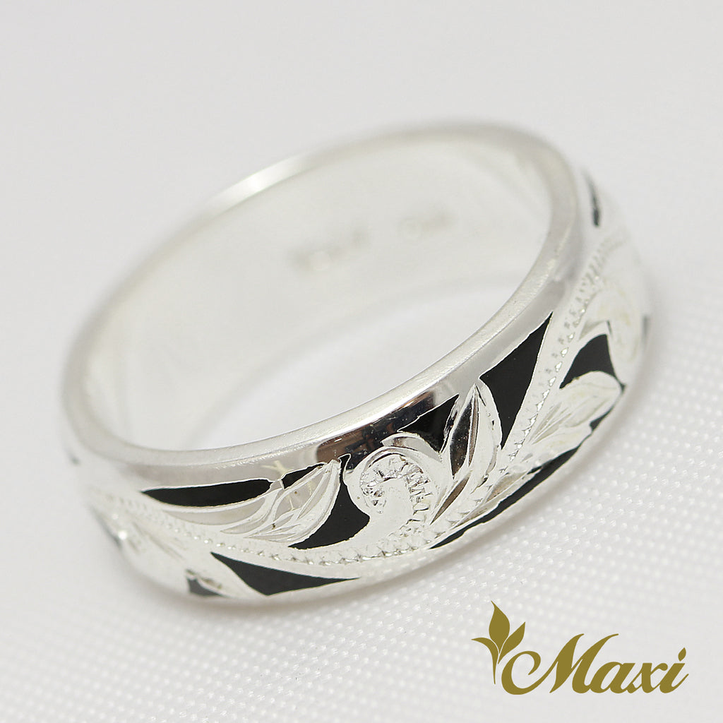 [Silver 925] Black Enamel Ring Large 6mm (R0439) [Made to Order]