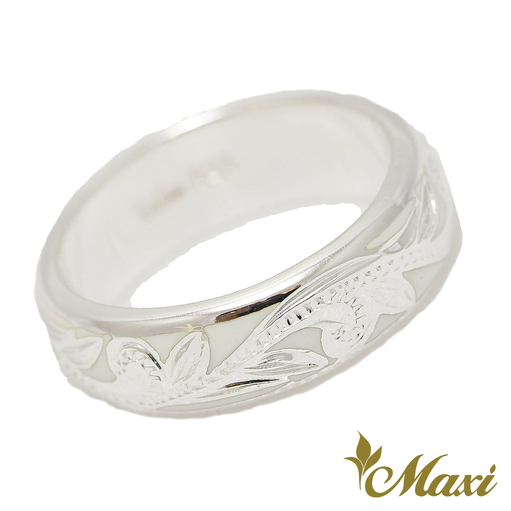[Silver 925] White Enamel 6mm Ring [Made to order] (R0439)