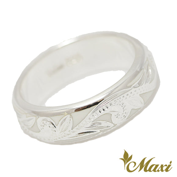 Silver 925 White Enamel Ring Large-Hand Engraved Traditional Hawaiian Design (R0439)