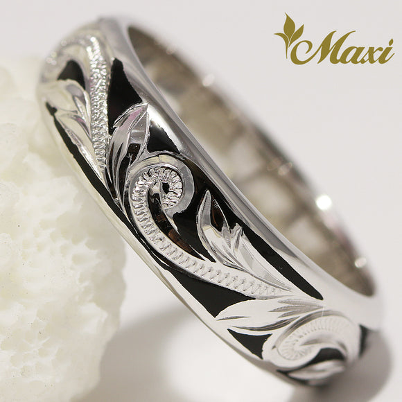 [14K White Gold] Black Enamel 6mm Ringl-Hand Engraved Traditional Hawaiian Design**Take 1 month** (R0439)