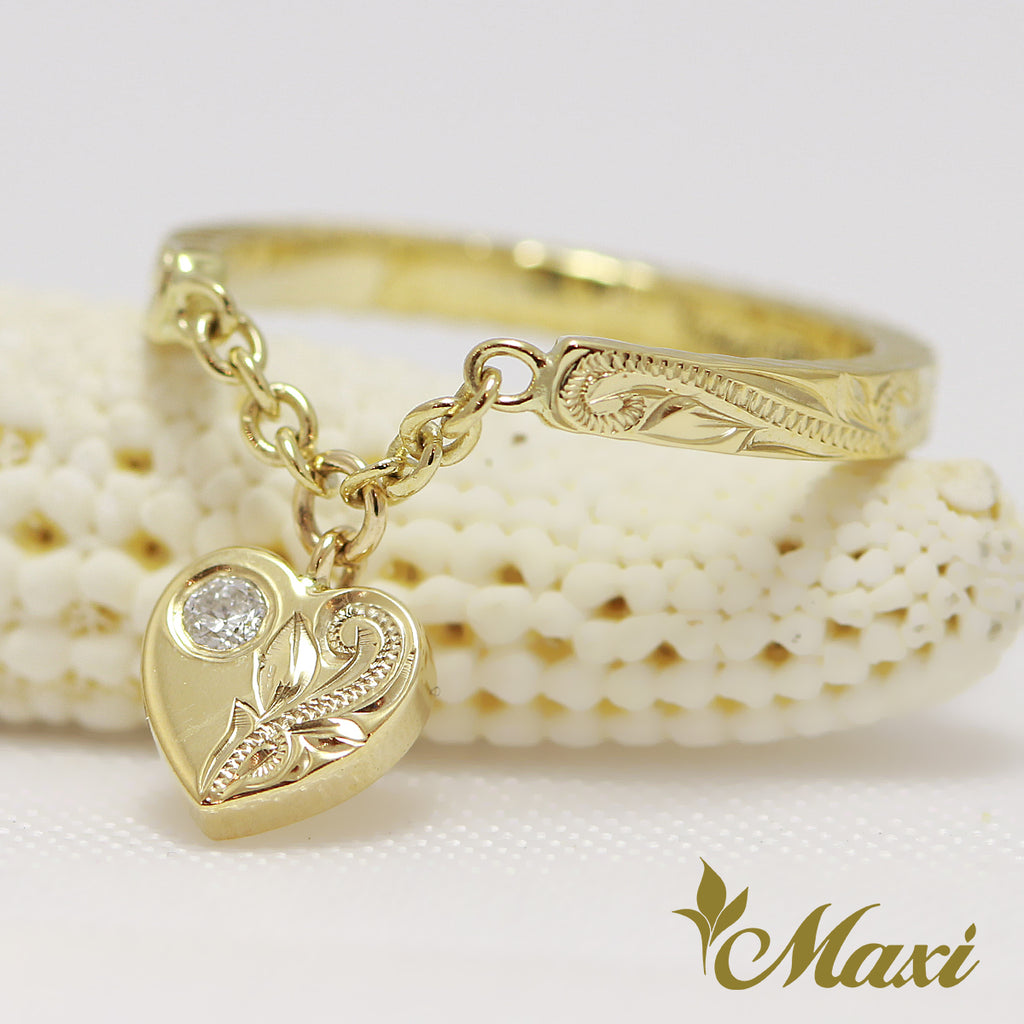 [14K Yellow Gold] Heart Swing Pinky Ring with Diamond [Made to Order] (R0444)