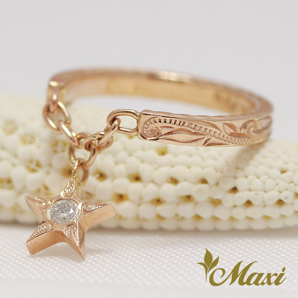 [14K Pink Gold] Star Swing Ring with Diamond-Hand Engraved Traditional Hawaiian Design (R0445)