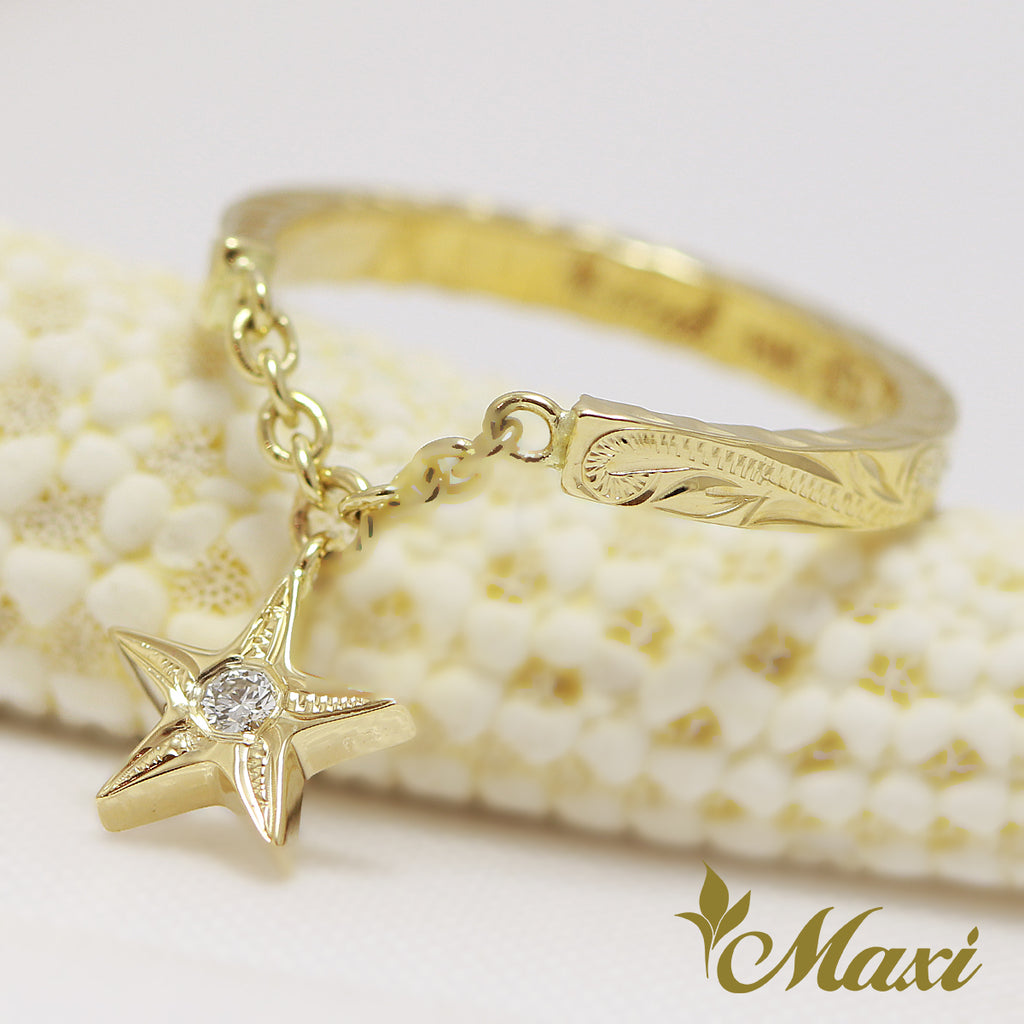 [14K Yellow Gold] Star Swing Pinky Ring with Diamond [Made to Order] (R0445)