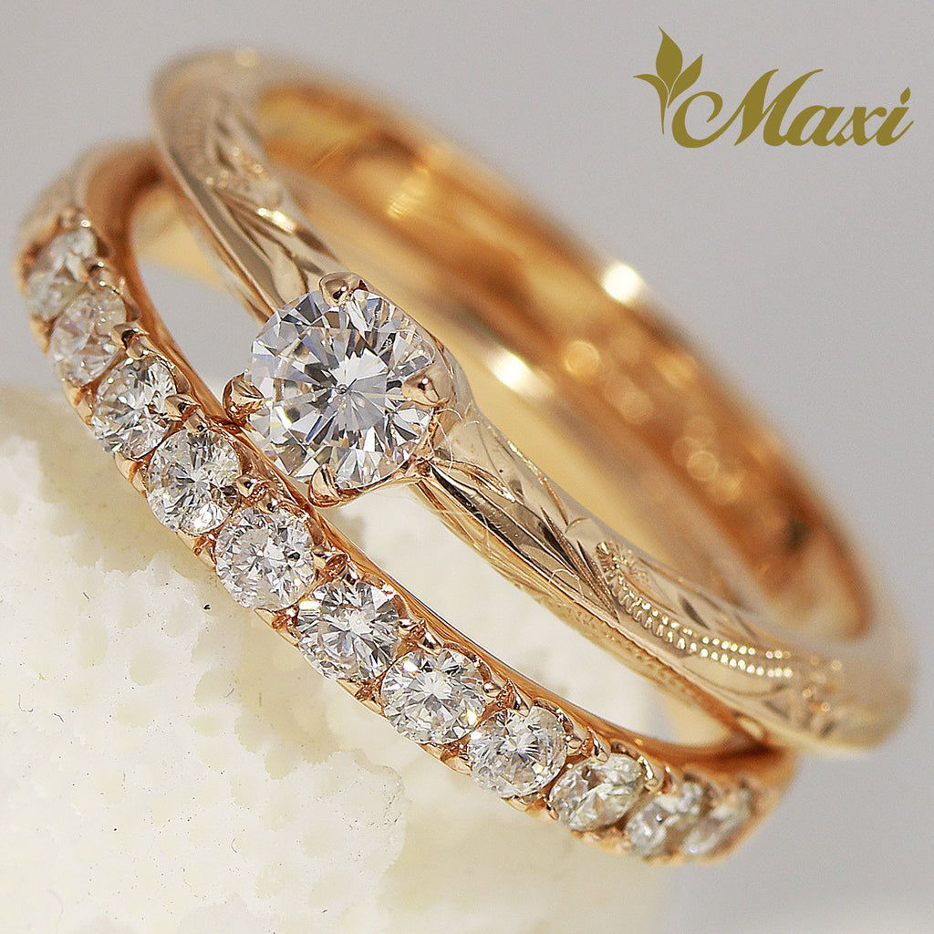 [14K Gold] Eternity Ring Set - Fashion/ Engagement (R0452+R0683) [Made to Order]