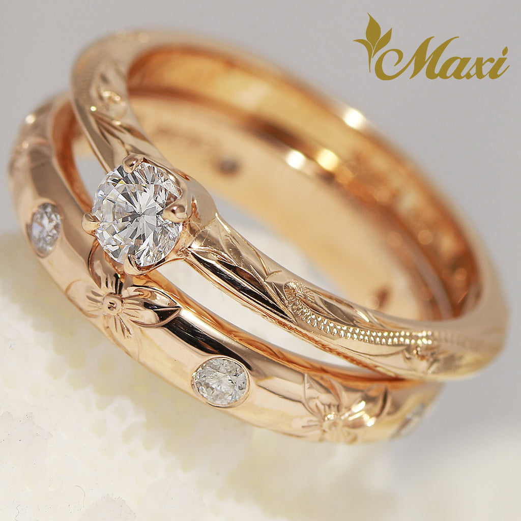 [14K Gold] Diamond Ring Set - Fashion/ Engagement (R0452+3mm Dia Ring) [Made to Order]