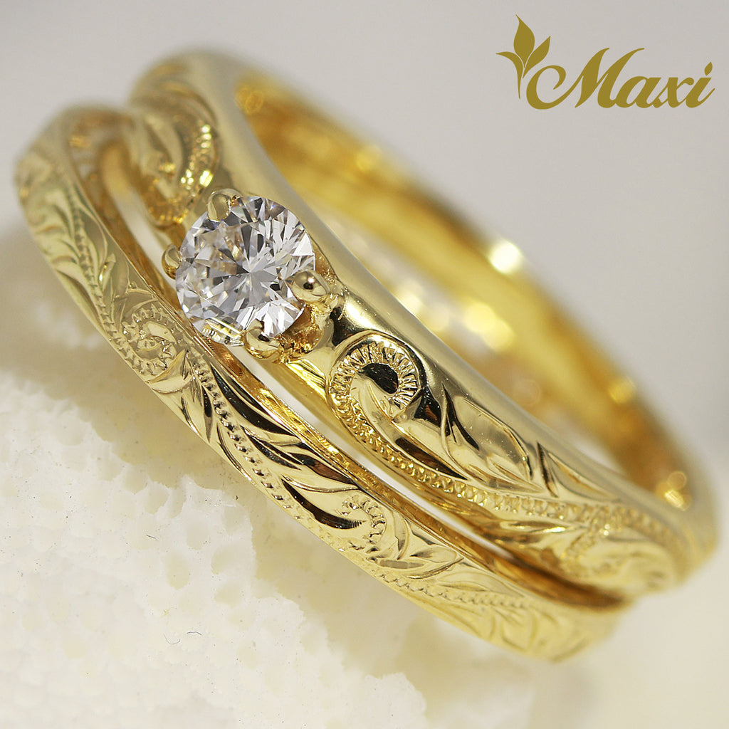 [14K Gold] Hawaiian Engraved Ring Set - Fashion/ Engagement (R0453+R0639) [Made to Order]