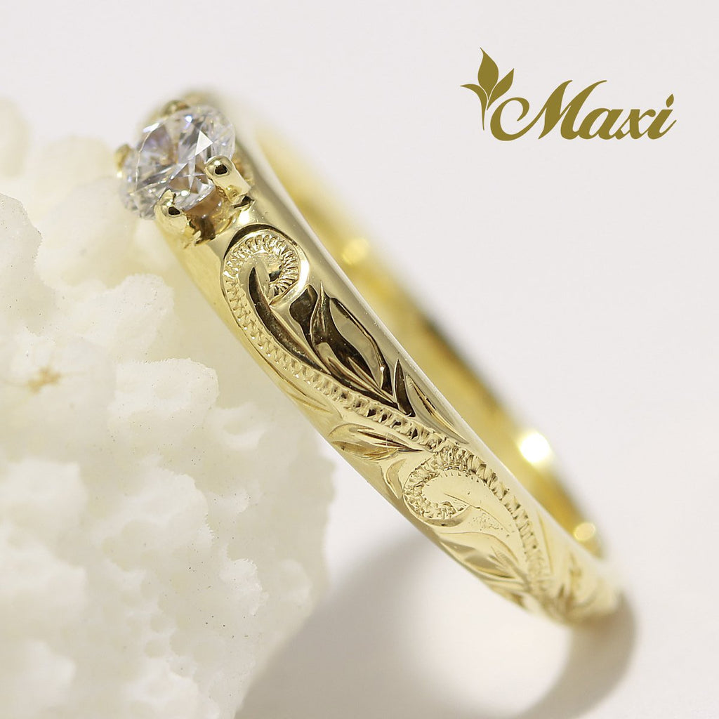[14K Gold] Classical Traditional Engagement Ring with Diamond (R0453) Made to Order