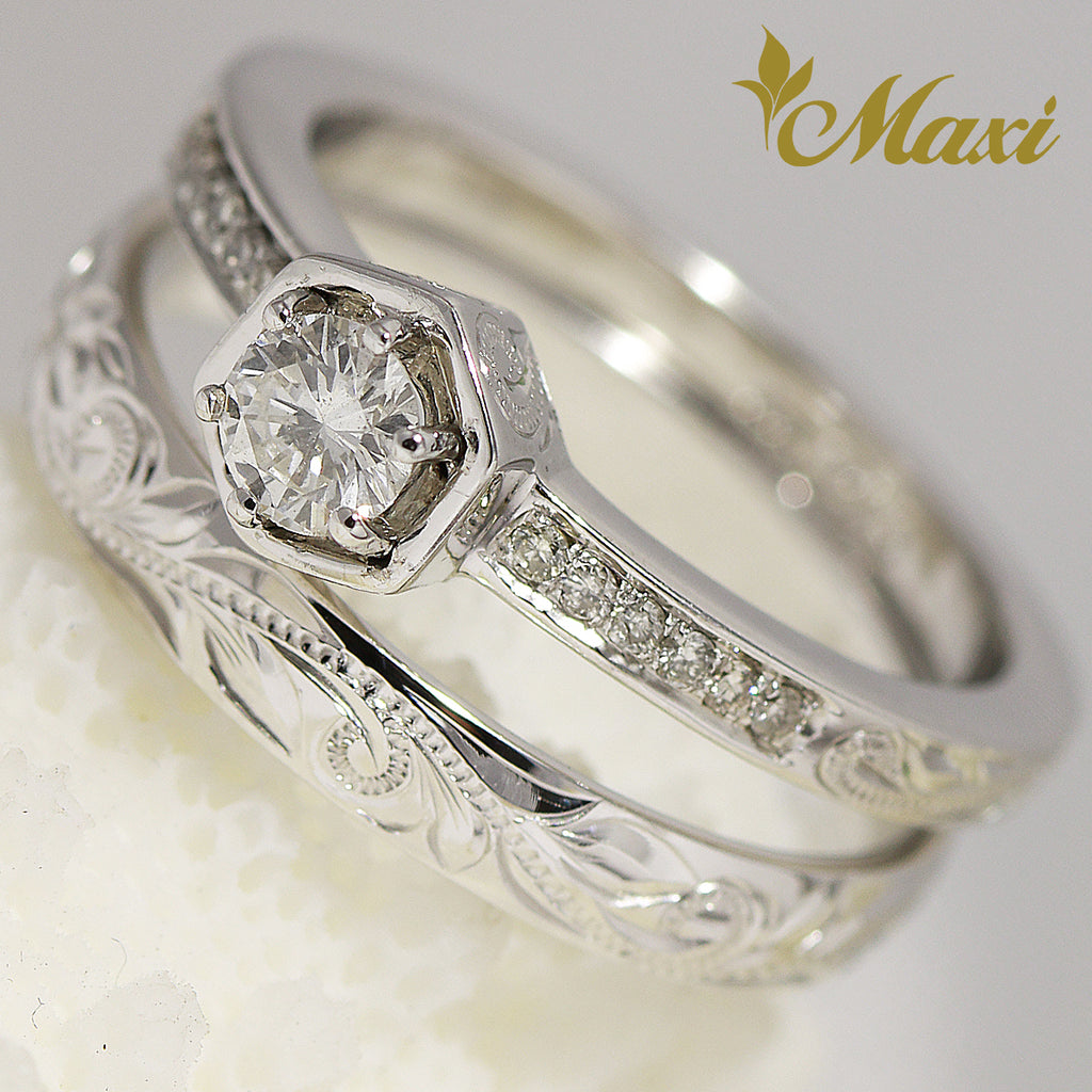 [14K Gold] Hawaiian Engraved Ring Set - Fashion/ Engagement (R0455+R0731) [Made to Order]