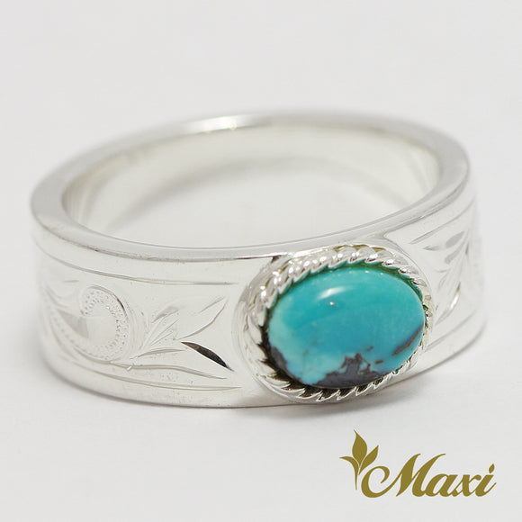 [Silver 925] -Turquoise Ring/Hand Engraved Traditional Hawaiian Design (R0525)