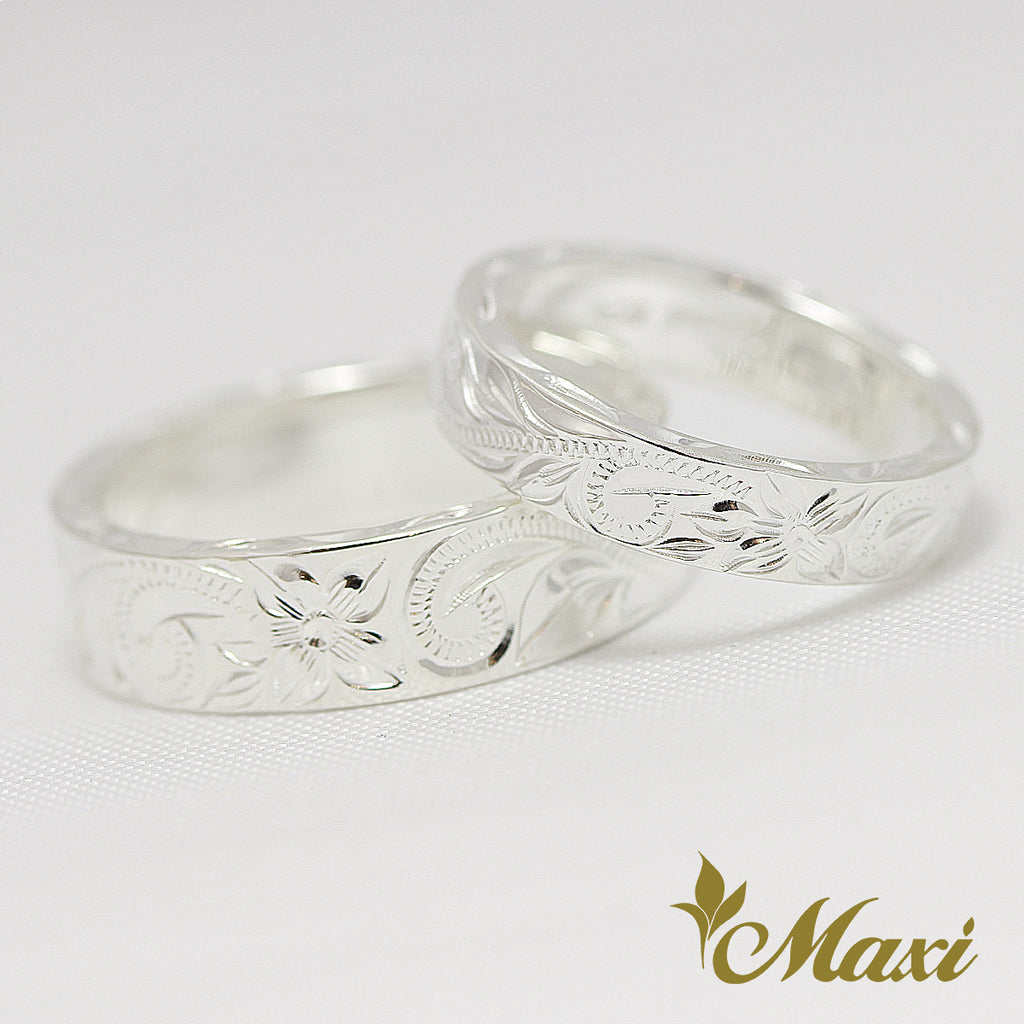 [Silver 925] 4mm+6mm Pair Ring/ Couple & Wedding $60 off [Made to Order] (R0538+R0540)