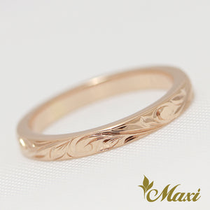 [14K Pink Gold] -2mm Width Ring/Hand Engraved Traditional Hawaiian Princess Design (R0541) Made to Order