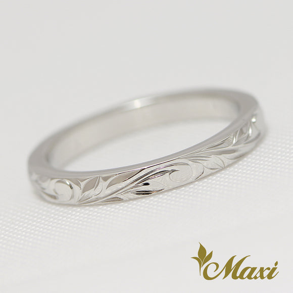 14K White Gold -Hand Engraved Traditional Hawaiian Design (R0541)