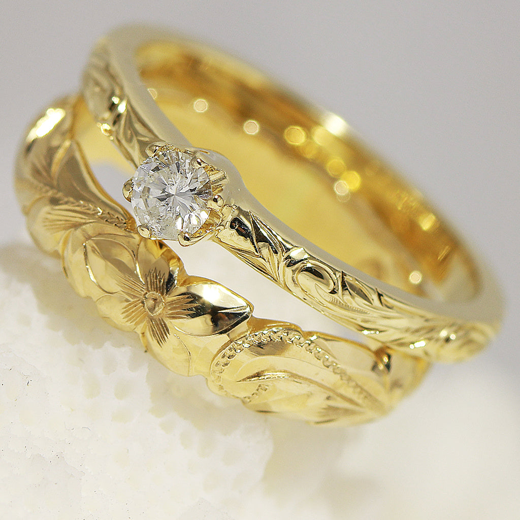 [14K Gold] Hawaiian Engraving Design Ring Set-Fashion/ Engagement (R0544+R0133) [Made to Order]