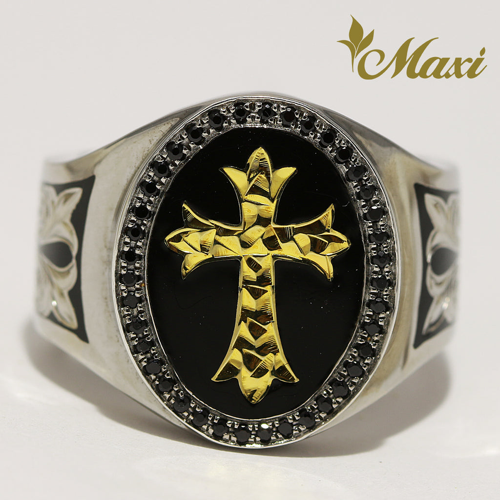 [Black Chrome Silver 925] Gold Face Cross Tapper Ring (R0567) [Made to Order]