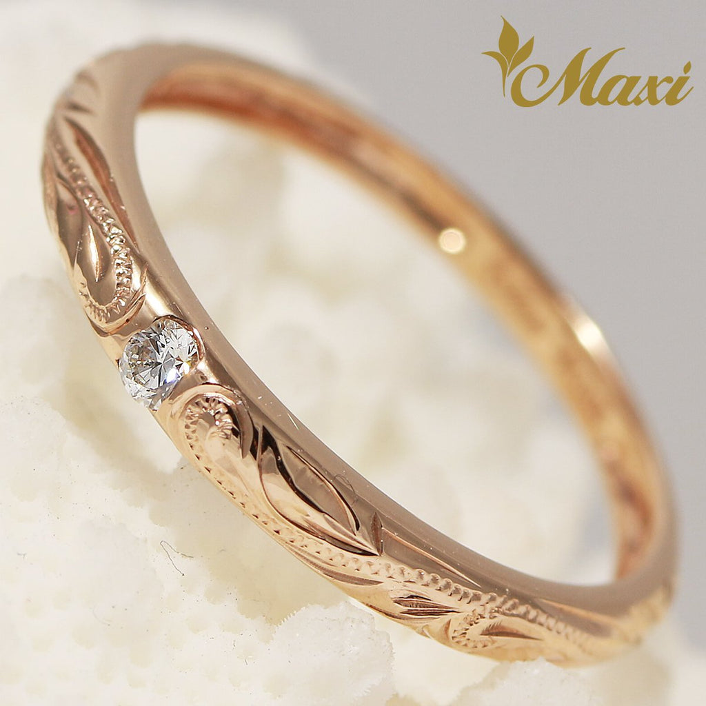 [14K Pink Gold] Single diamond fashion ring/ Hand Engraved Hawaiian Heritage Old English Design (R0594)