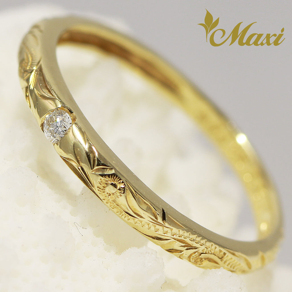 [14K Gold] Single Diamond 2mm Ring [Made to Order] (R0594)