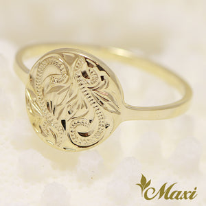 [14K Yellow Gold] -Hand Engraved Traditional Hawaiian Design (R0643)