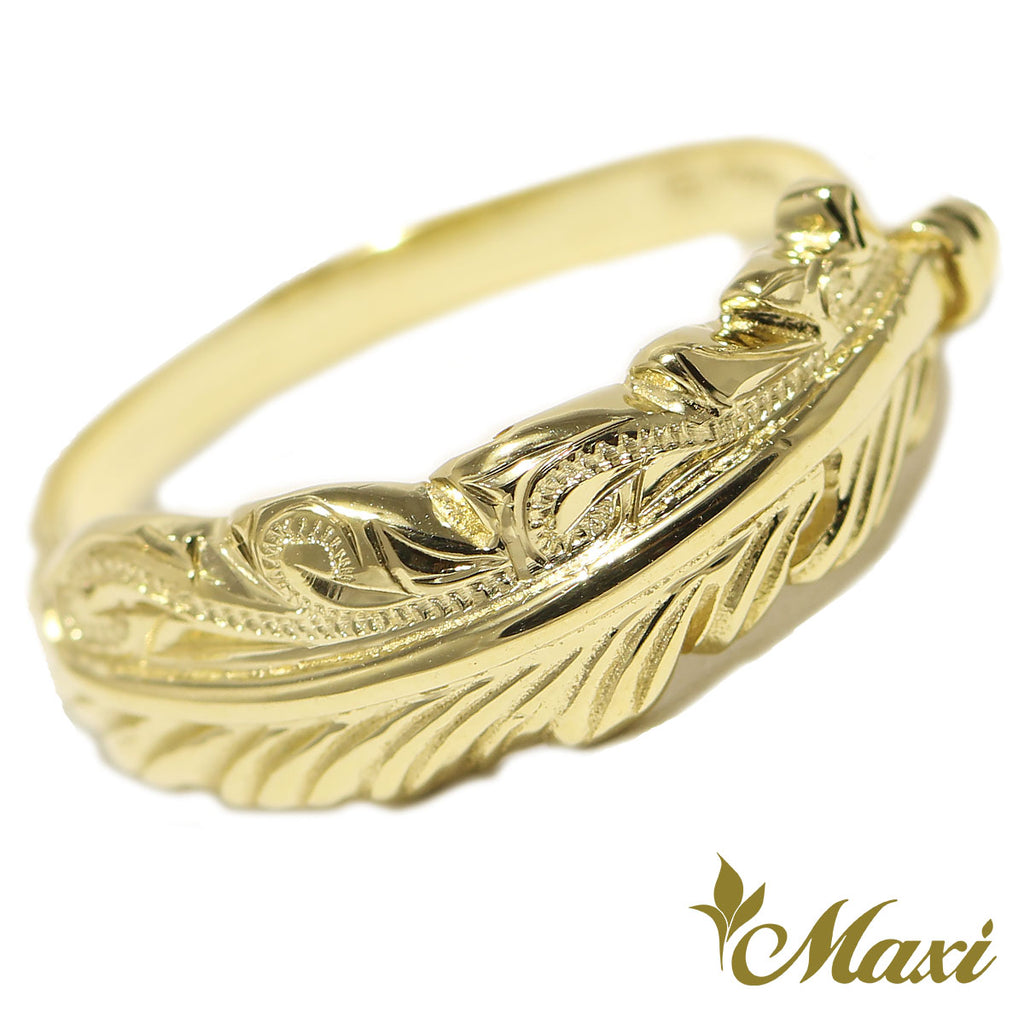 [14K Gold] Feather Ring  *Made to order* (R0650)