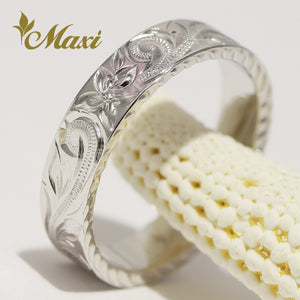 [14K White Gold] 4mm Flat Ring-Hand Engraved Traditional Hawaiian Design (R0670)