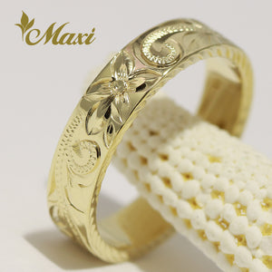 [14K Yellow Gold] 4mm Flat Ring-Hand Engraved Traditional Hawaiian Design (R0670)