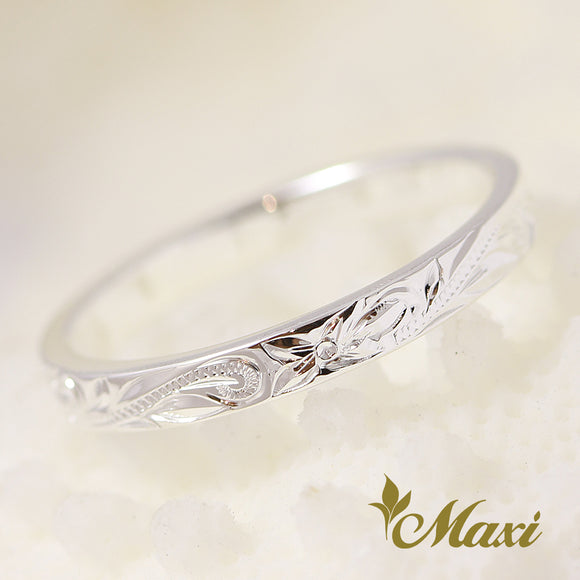 [Silver 925] 2mm Flat Pinky Ring-Hand Engraved Traditional Hawaiian Design (R0699)