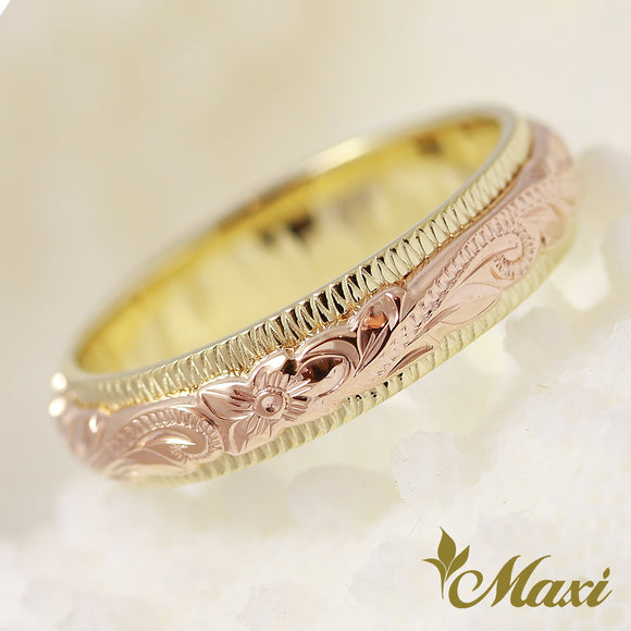 [14K Pink/Yellow Gold] Two Tone Ring-Hand Engraved Traditional Hawaiian Design (R0700)