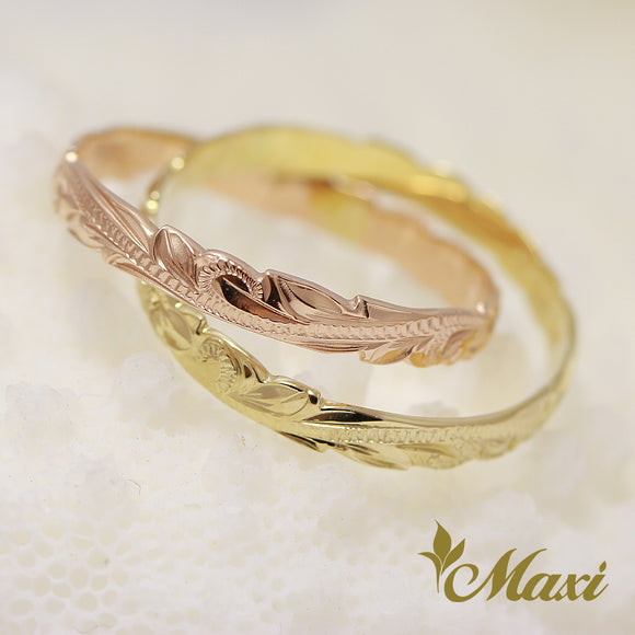 14K Yellow/Pink Gold Double Ring-Hand Engraved Traditional Hawaiian Design (R0715)