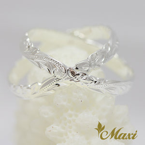 Silver 925 Double Ring-Hand Engraved Traditional Hawaiian Design (R0715)