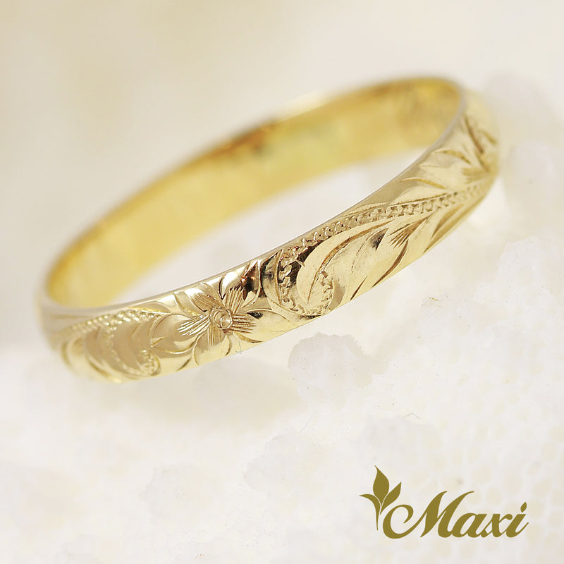 [14K Yellow Gold] -3mm Width Ring/Hand Engraved Traditional Hawaiian Design (R0731)