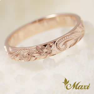 [14K Pink Gold] -Hand Engraved Traditional Hawaiian Design (R0731) Made to Order