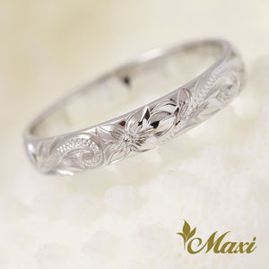 [14K White Gold] -3mm Width Ring/Hand Engraved Traditional Hawaiian Design (R0731)