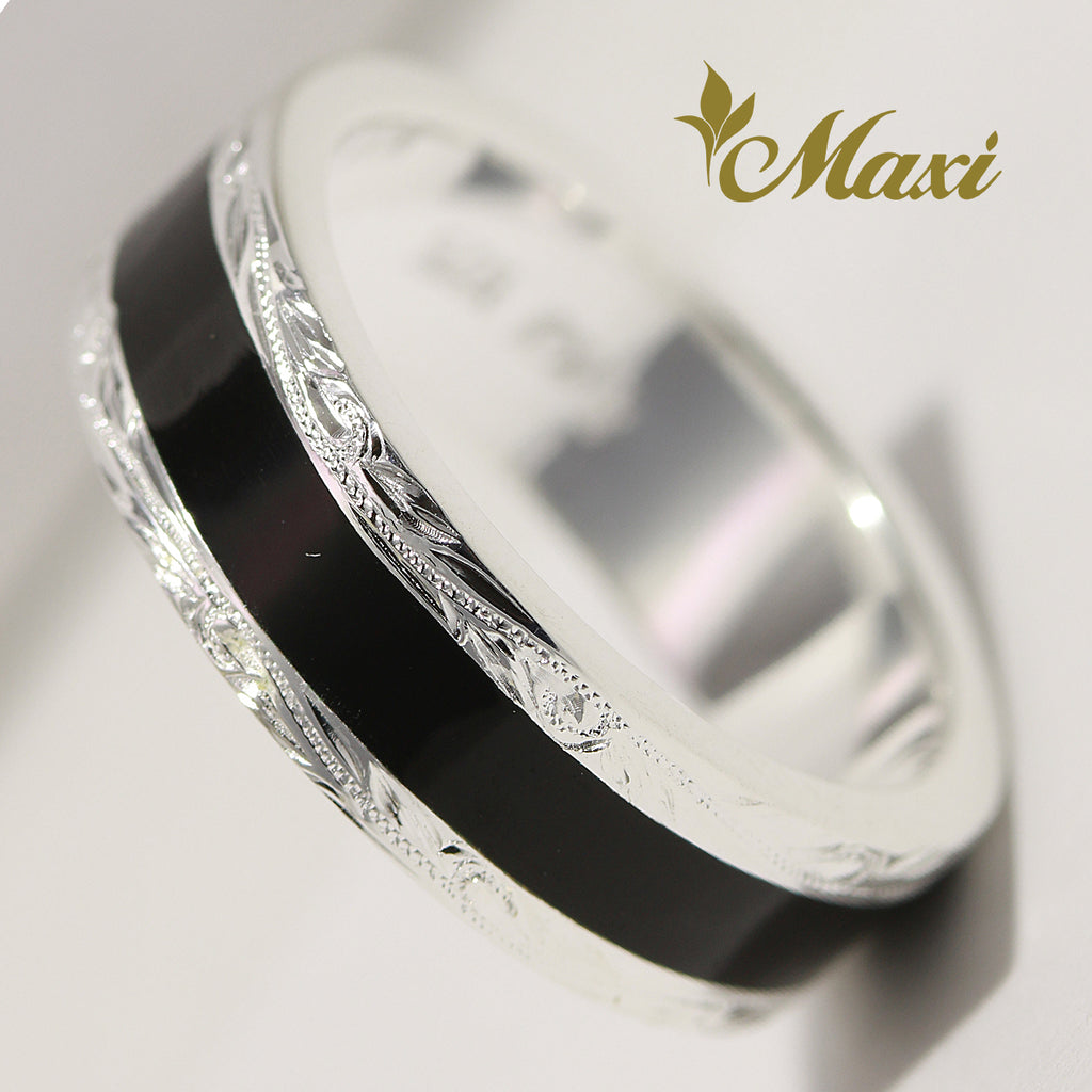 [Silver 925] Black Enamel Ring 6.5mm (R0734) [Made to Order]